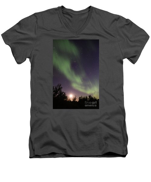 Men's V-Neck T-Shirt featuring the photograph Dancing With The Moon by Larry Ricker