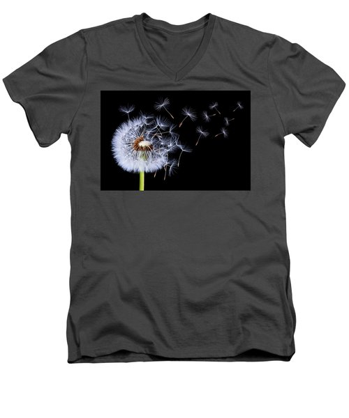 Dandelion Blowing On Black Background Men's V-Neck T-Shirt by Bess Hamiti
