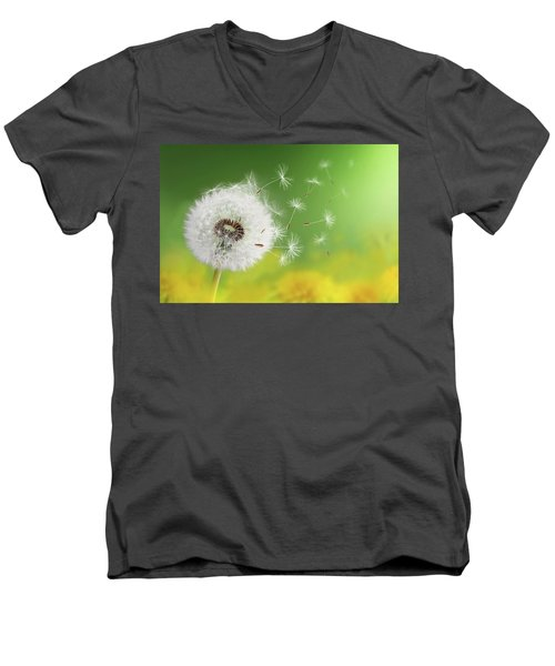 Men's V-Neck T-Shirt featuring the photograph Dandelion Clock In Morning by Bess Hamiti