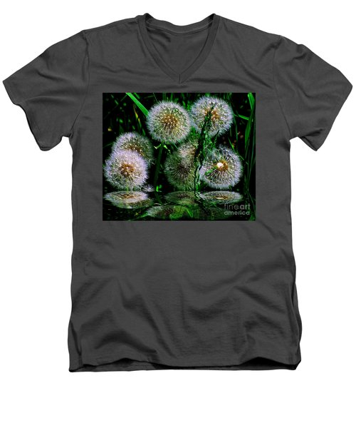 Men's V-Neck T-Shirt featuring the photograph Dandies  by Elfriede Fulda