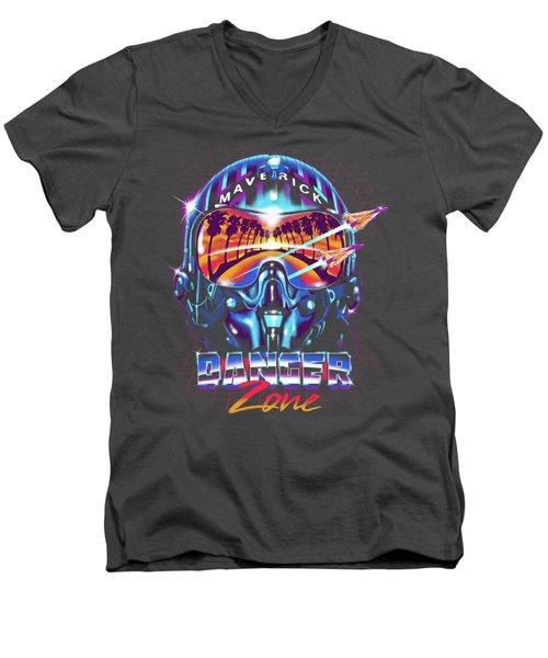 Danger Zone / Top Gun / Maverick / Pilot Helmet / Pop Culture / 1980s Movie / 80s Men's V-Neck T-Shirt