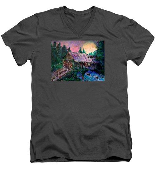 Men's V-Neck T-Shirt featuring the painting Dangerous Bridge by Seth Weaver