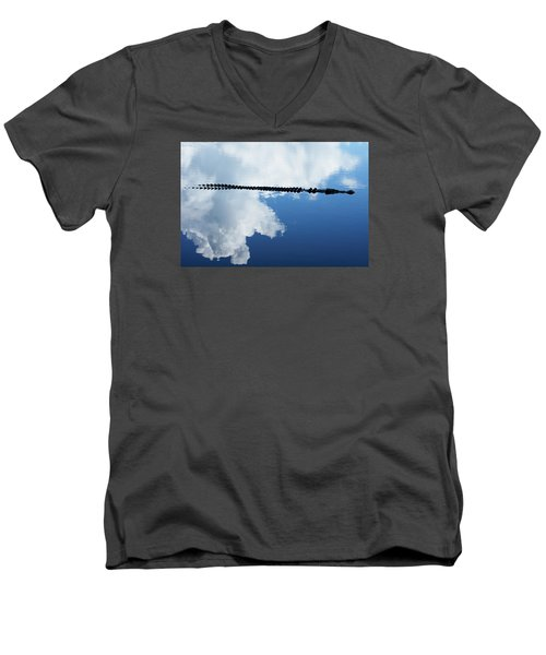 Men's V-Neck T-Shirt featuring the photograph Dangerous Reflection Saltwater Crocodile by Gary Crockett