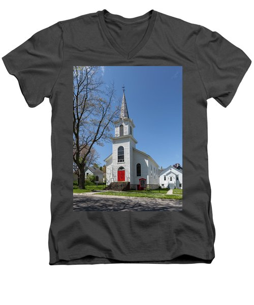Men's V-Neck T-Shirt featuring the photograph Danish Lutheran Church by Fran Riley