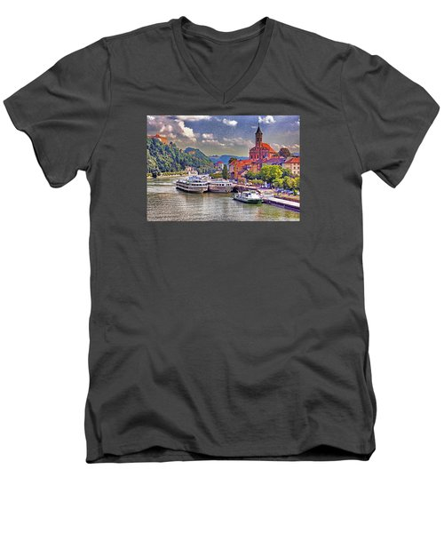 Danube At Passau Men's V-Neck T-Shirt by Dennis Cox WorldViews
