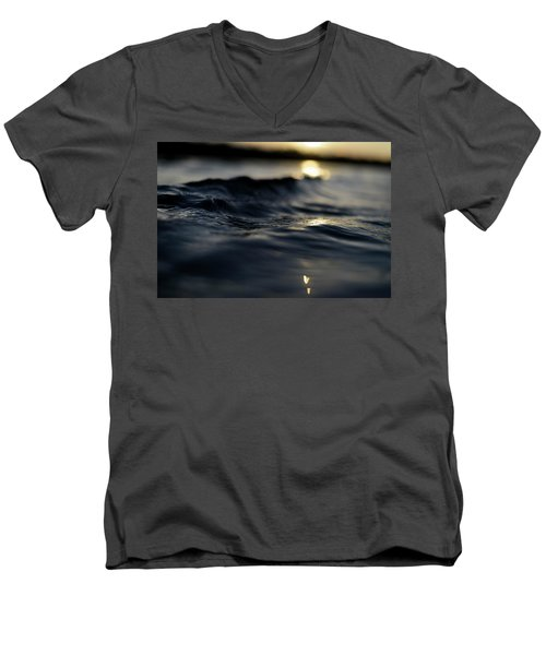 Men's V-Neck T-Shirt featuring the photograph Dark Atlantic Traces by Laura Fasulo
