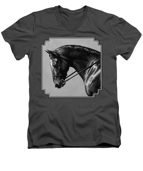 Dark Brown Dressage Horse Black And White Men's V-Neck T-Shirt