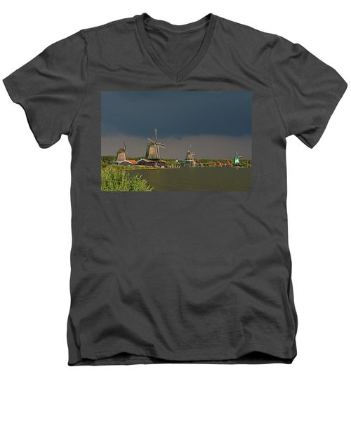 Dark Clouds Above Zaanse Schans Men's V-Neck T-Shirt