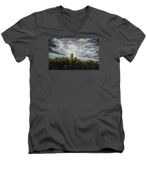 Dark Clouds Approaching 2 Men's V-Neck T-Shirt by Ron Richard Baviello