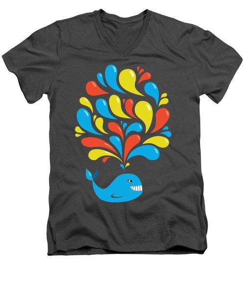 Dark Colorful Splash Happy Cartoon Whale Men's V-Neck T-Shirt