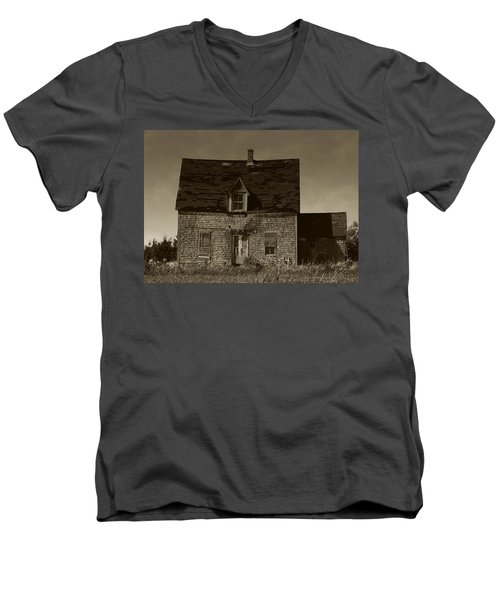 Men's V-Neck T-Shirt featuring the photograph Dark Day On Lonely Street by RC DeWinter