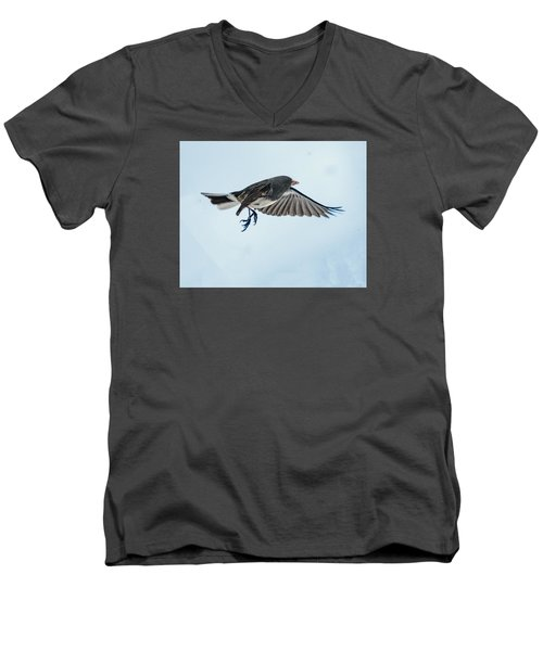 Dark-eyed Junco Flying Men's V-Neck T-Shirt