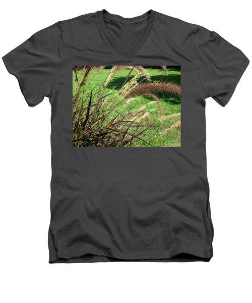 Dark Feather Grass Men's V-Neck T-Shirt by Michele Wilson