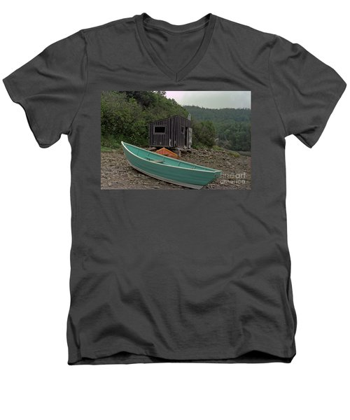 Dark Harbour Fisherman Shack And Boat Men's V-Neck T-Shirt
