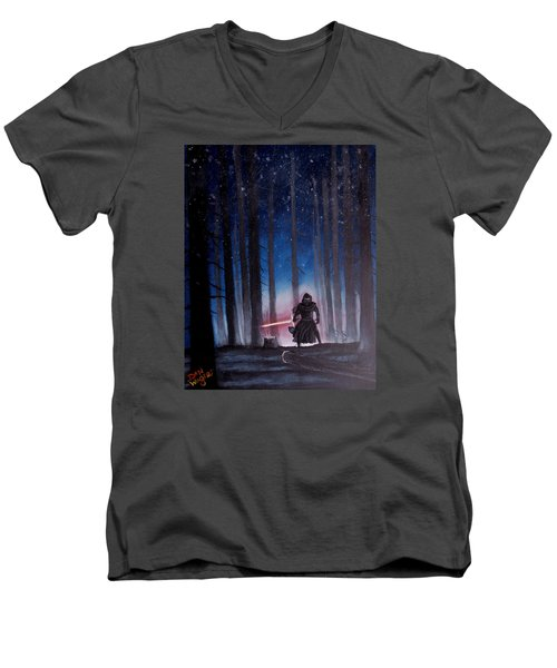Men's V-Neck T-Shirt featuring the painting Dark Jedi by Dan Wagner