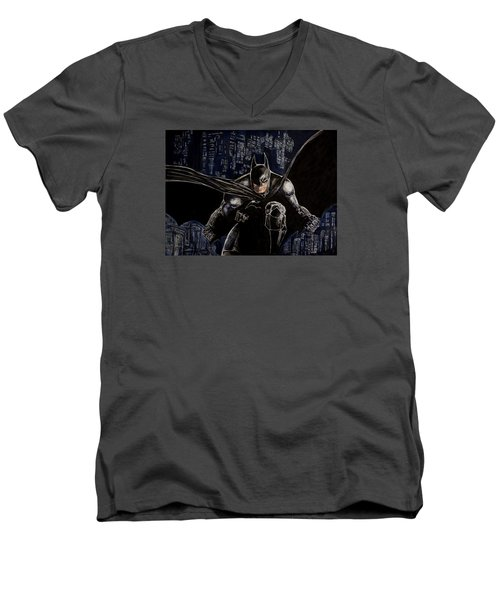 Men's V-Neck T-Shirt featuring the painting Dark Knight by Sylvia Thornton