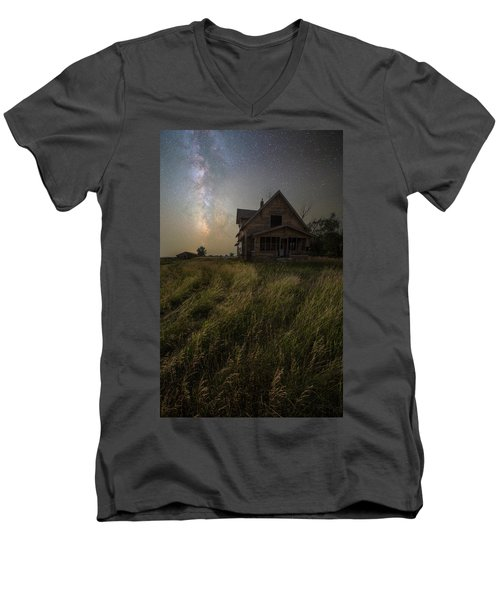 Men's V-Neck T-Shirt featuring the photograph Dark Manor by Aaron J Groen
