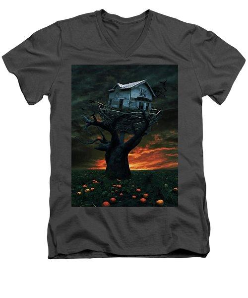Dark Night Men's V-Neck T-Shirt by Mihaela Pater