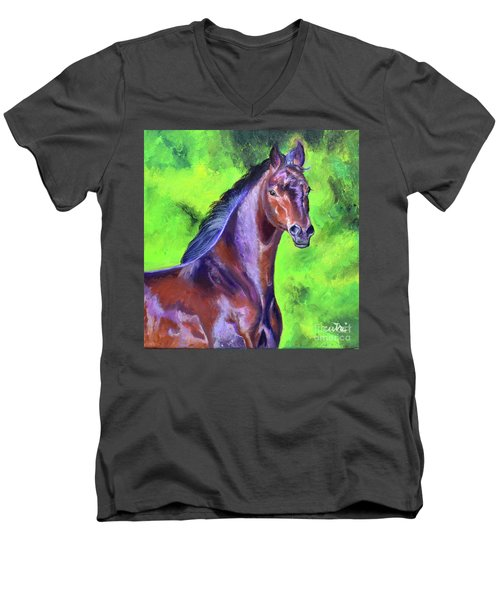 Dark Red Bay Horse Men's V-Neck T-Shirt