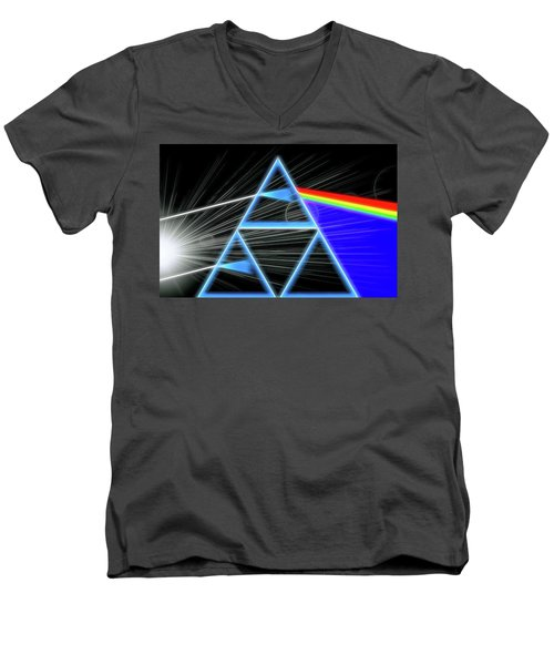 Men's V-Neck T-Shirt featuring the digital art Dark Side Of The Moon by Dan Sproul