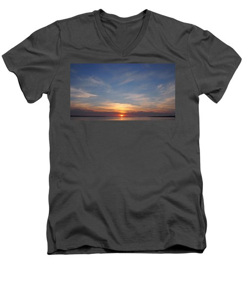 Men's V-Neck T-Shirt featuring the photograph Dark Sunrise by  Newwwman