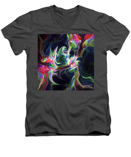 Men's V-Neck T-Shirt featuring the digital art Dark To Light by Deborah Benoit