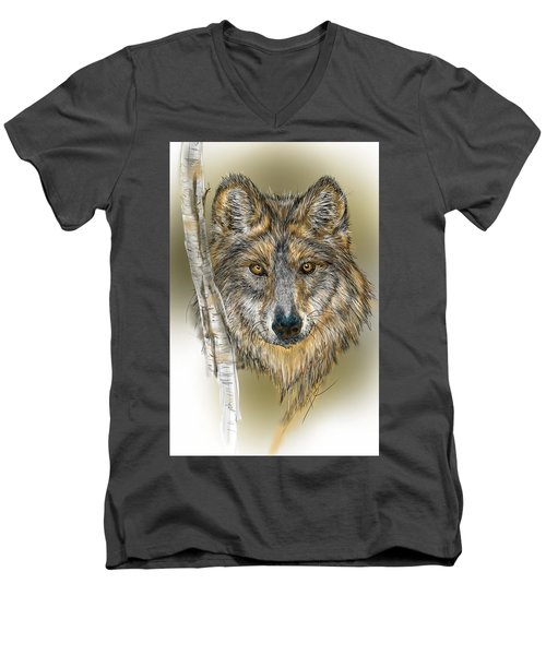 Dark Wolf With Birch Men's V-Neck T-Shirt