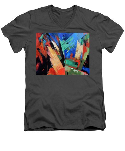 Men's V-Neck T-Shirt featuring the painting Darkness And Light by Gary Coleman