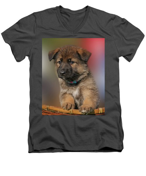 Men's V-Neck T-Shirt featuring the photograph Darling Puppy by Sandy Keeton