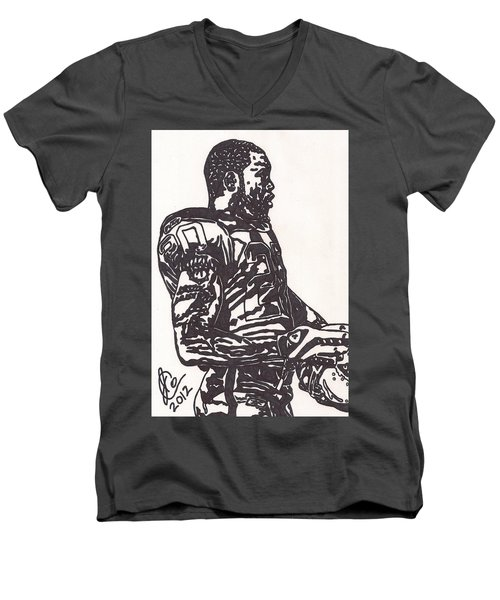 Men's V-Neck T-Shirt featuring the drawing Darren Mcfadden 1 by Jeremiah Colley
