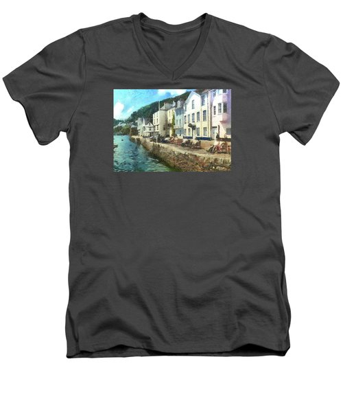 Men's V-Neck T-Shirt featuring the digital art Bayards Cove Dartmouth Devon  by Charmaine Zoe