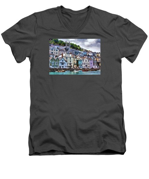 Men's V-Neck T-Shirt featuring the digital art Dartmouth Devon by Charmaine Zoe