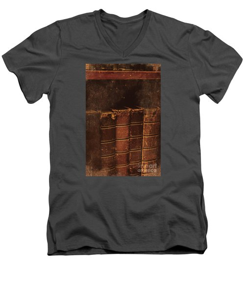 Men's V-Neck T-Shirt featuring the photograph Dated Textbooks by Jorgo Photography - Wall Art Gallery