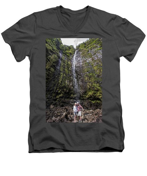 Dave And Elaine At Waimoku Falls Men's V-Neck T-Shirt