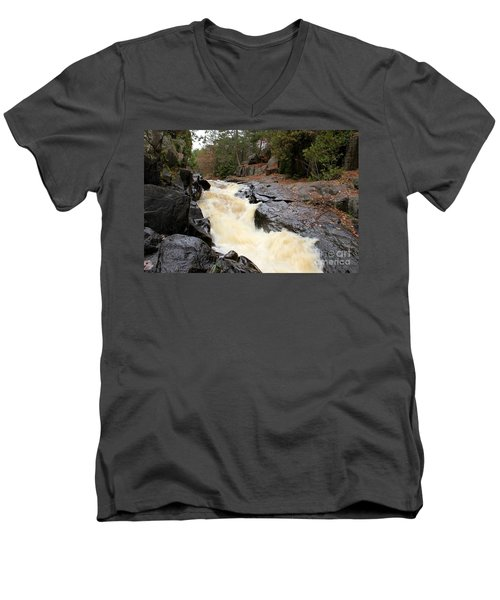 Men's V-Neck T-Shirt featuring the photograph Dave's Falls #7284 by Mark J Seefeldt