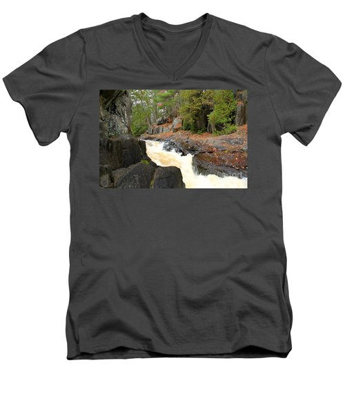 Men's V-Neck T-Shirt featuring the photograph Dave's Falls #7311 by Mark J Seefeldt