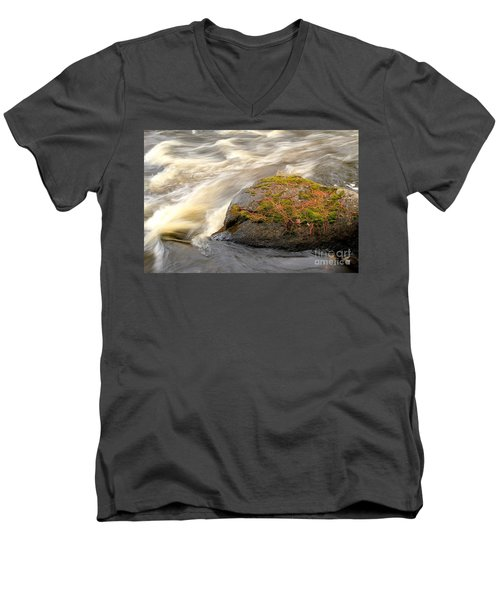 Men's V-Neck T-Shirt featuring the photograph Dave's Falls #7442 by Mark J Seefeldt