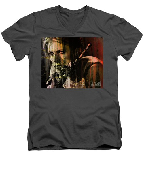 David Bowie / The Man Who Fell To Earth  Men's V-Neck T-Shirt by Elizabeth McTaggart