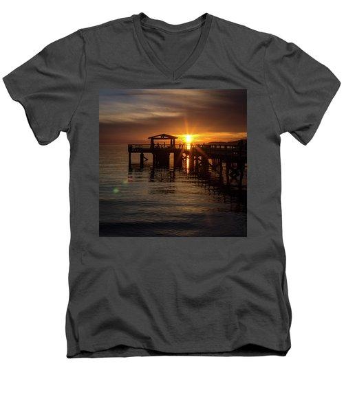 Davis Bay Pier Sunset Men's V-Neck T-Shirt