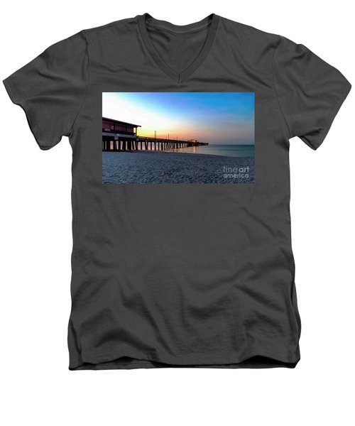Men's V-Neck T-Shirt featuring the photograph Dawn At Gulf Shores Pier Al Seascape 1283a Digital Painting by Ricardos Creations