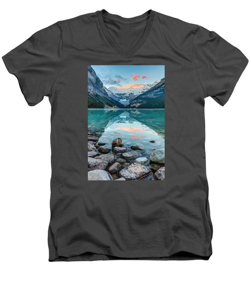 Dawn At Lake Louise Men's V-Neck T-Shirt