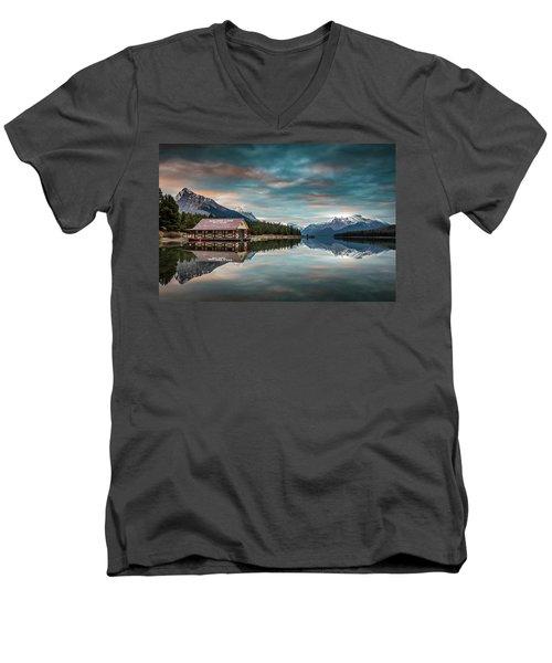 Dawn At Maligne Lake Men's V-Neck T-Shirt