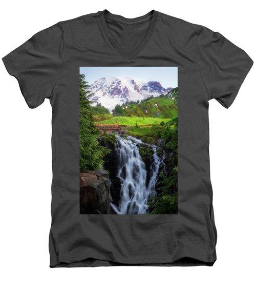 Dawn At Myrtle Falls Men's V-Neck T-Shirt