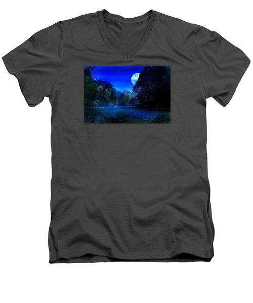 Dawn At Night Men's V-Neck T-Shirt by Bernd Hau