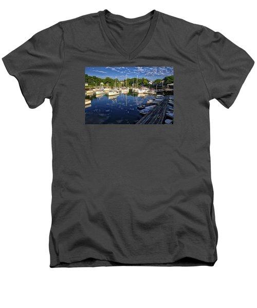 Dawn At Perkins Cove - Maine Men's V-Neck T-Shirt by Steven Ralser