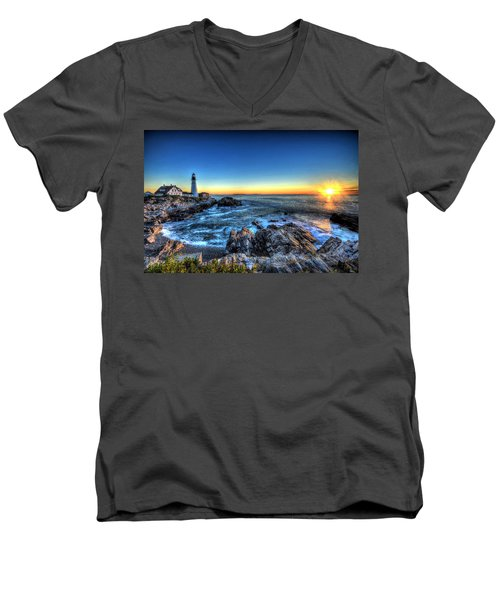 Dawn At Portland Head Lighthouse Men's V-Neck T-Shirt