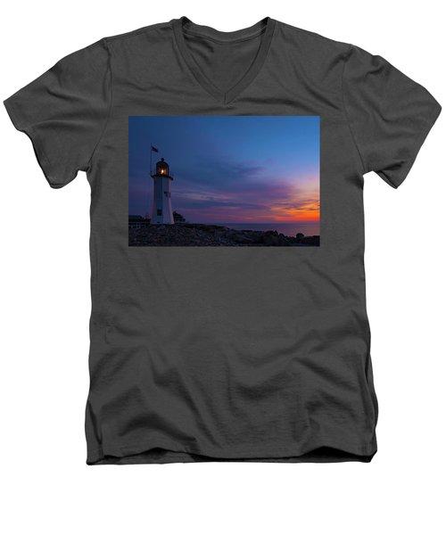 Dawn At Scituate Light Men's V-Neck T-Shirt