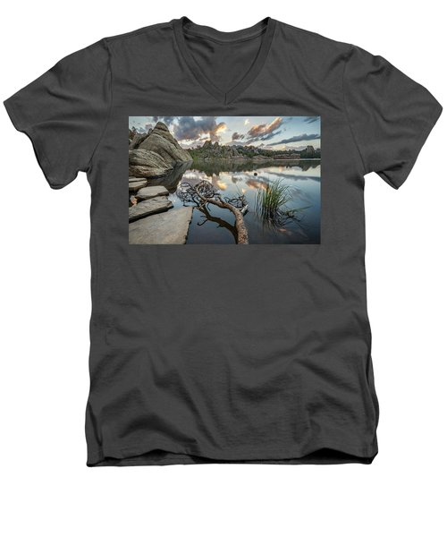 Men's V-Neck T-Shirt featuring the photograph Dawn At Sylvan Lake by Adam Romanowicz