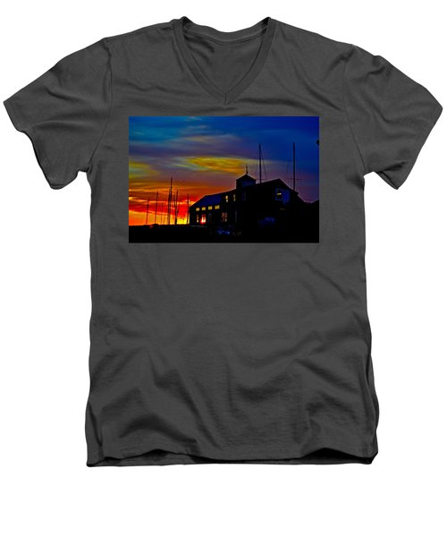 Dawn At The Boatbuilder  Men's V-Neck T-Shirt