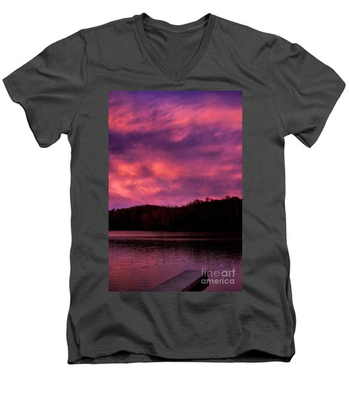 Men's V-Neck T-Shirt featuring the photograph Dawn At The Dock by Thomas R Fletcher